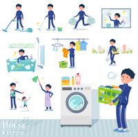 flat type school boy Blue jersey_housekeeping