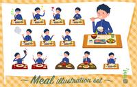 flat type school boy Blue jersey_Meal