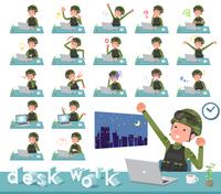 flat type military wear man_desk work