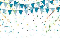 青いパーティーフラッグと紙吹雪