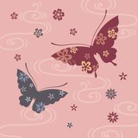 蝶々と花の和風イラスト