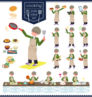 flat type green Coach jacket man_cooking