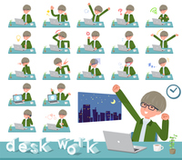 flat type green Coach jacket man_desk work