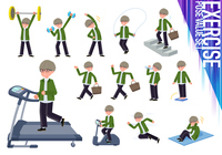 flat type green Coach jacket man_exercise