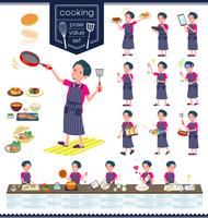 flat type pink shirt man_cooking