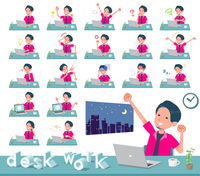 flat type pink shirt man_desk work