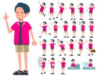 flat type pink shirt man_emotion