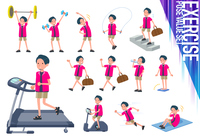 flat type pink shirt man_exercise