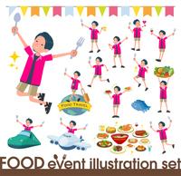 flat type pink shirt man_food festival