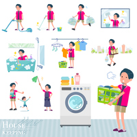 flat type pink shirt man_housekeeping