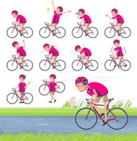 flat type pink shirt man_road bike