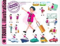 flat type pink shirt man_travel