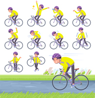 flat type yellow Parker man_road bike