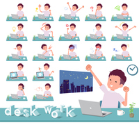 flat type big T-shirt man_desk work