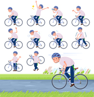 flat type big T-shirt man_road bike