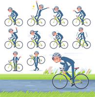 flat type blue suit Glasses man_road bike