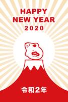 2020年 令和2年 子年ねずみと富士山の年賀状