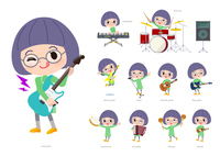 Green clothing Glasses girl_pop music