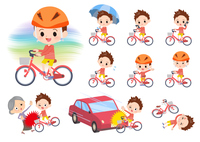 Red clothing boy_city cycle