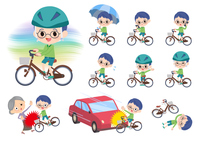 Green clothing glasses boy_city cycle