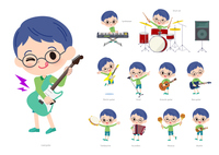Green clothing glasses boy_pop music