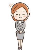 女性 スーツ お辞儀