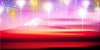 富士山 花火 空 背景