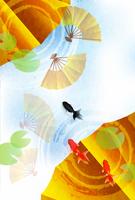 暑中見舞い 金魚 夏 背景