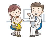 男性医師と母親と赤ちゃん
