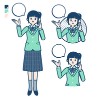 simple type school girl Green Blazer_smartphone call