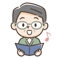 歌うシニア男性