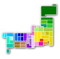 日本 地図 カラフル アイコン