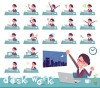 flat type glasses office women_desk work