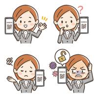 QRコード決済する若い女性の表情セット