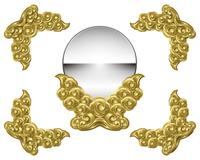 神鏡と飾り枠のイラスト