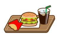 ハンバーガーセット アイコン 線画