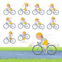 flat type Polka dot clothes girl_road bike