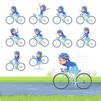 flat type Blue clothes headband girl_road bike