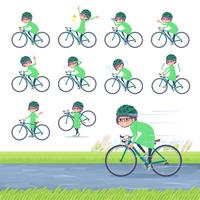 flat type Green clothes Glasses girl_road bike