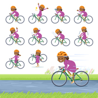 flat type Curly hair girl black_road bike