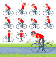 flat type red Tshirt Glasse men_road bike