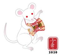 小鼓を演奏する白ネズミ - 子年 年賀状素材