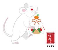 鏡餅を持つ白ネズミ - 子年 年賀状素材
