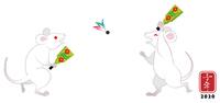 羽根つきをする白ネズミ - 子年 年賀状素材