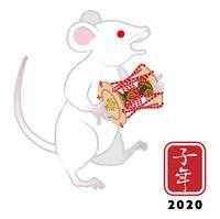 小鼓を持つ白ネズミ - 子年 年賀状素材