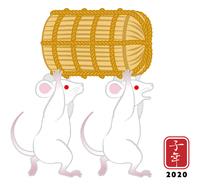 米俵を運ぶ二匹の白ネズミ - 子年 年賀状素材
