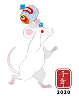 打ち出の小槌を持つ白ネズミ - 子年 年賀状素