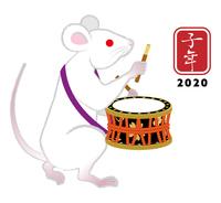 締太鼓を演奏する白ネズミ - 子年 年賀状素材