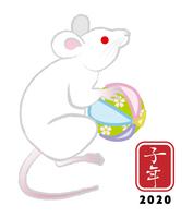 手毬を持つ白ネズミ - 子年 年賀状素材