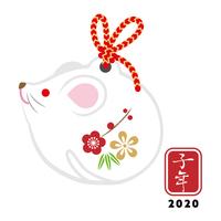 白ネズミの置物 - 子年 年賀状素材